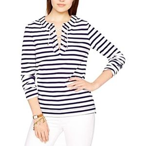 Kate Spade New York Cotton Jersey Lace Up Top